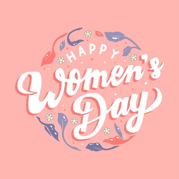 Belettering thema voor dag van de vrouw Gratis Vector