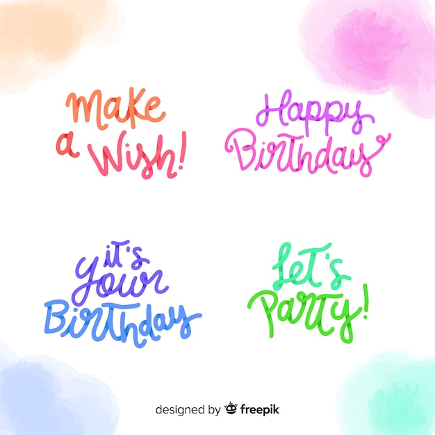 Belettering verjaardagsetiket Gratis Vector