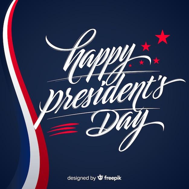 Belettering voorzitters dag achtergrond Gratis Vector