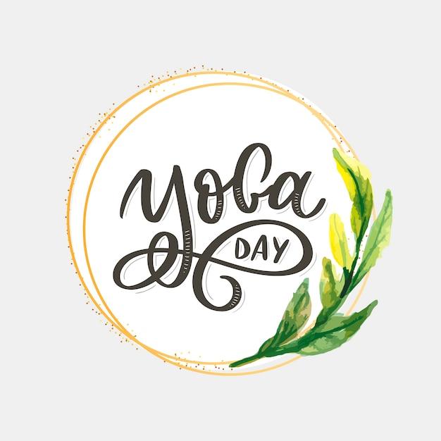 Belettering yoga. achtergrond internationale yogadag. voor poster, t-shirts, tassen. yoga typografie. vector-elementen voor labels, logo's, pictogrammen, badges. Premium Vector