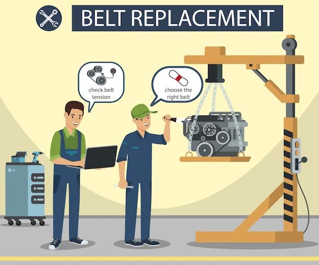 Belt replacement master make diagnostics machine-onderdeelbanner Premium Vector