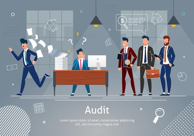 Benadrukt man op werkplek gecontroleerd door auditors. sjabloon Premium Vector