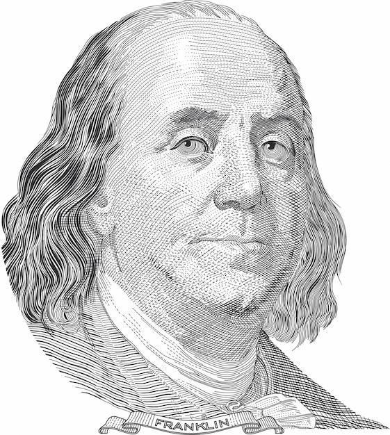 Benjamin franklin-portret Premium Vector