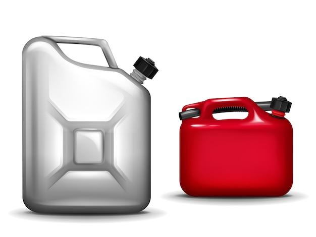 Benzine bus illustratie van 3d-realistische kunststof en aluminium metalen container voor auto Gratis Vector
