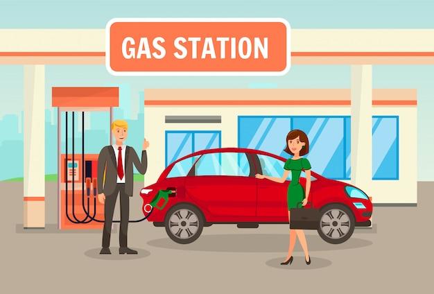 Benzine, vullen, benzinestation vectorillustratie Premium Vector