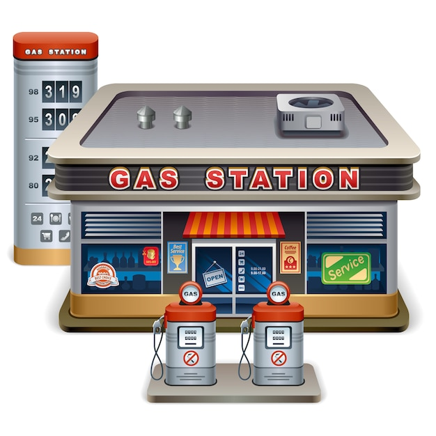 Benzinestation cartoon vector illustratie Premium Vector