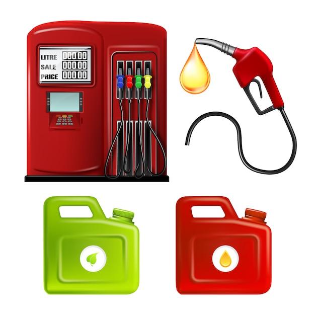 Benzinestation slang en bussen Premium Vector