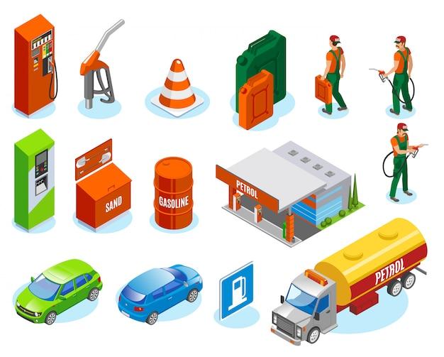 Benzinestations vult isometrische iconen collectie met brandstofman karakters en geïsoleerde afbeeldingen van auto's en tankstations Gratis Vector