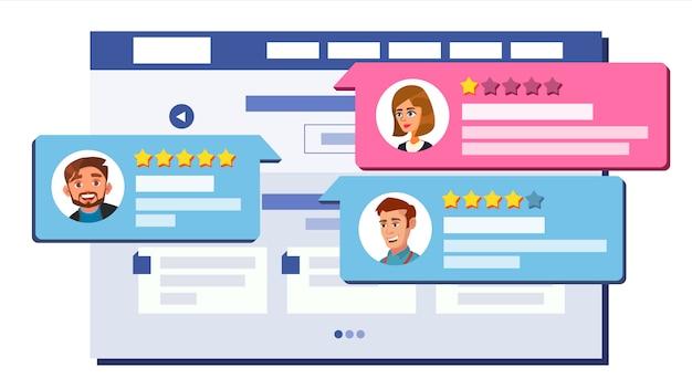 Beoordeling beoordeling webpaginaontwerp Premium Vector