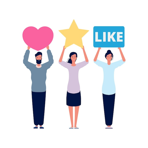 Beoordeling en recensies. sociale beoordelingsscores, media emotionele antwoorden. Premium Vector