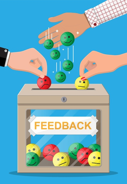 Beoordelingsvak met beoordelingen glimlachende gezichten Premium Vector