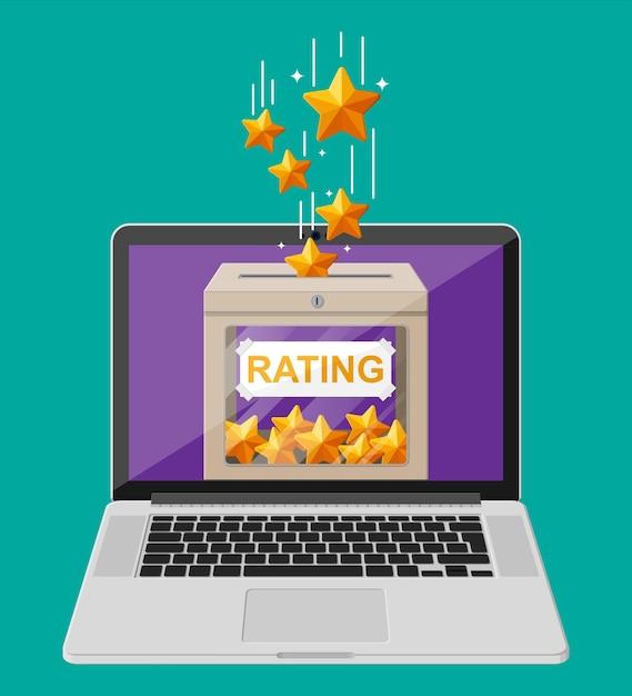 Beoordelingsvak op laptopscherm online beoordelingen vijf sterren Premium Vector