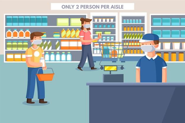 Beperkte klanten in een lokale winkel Gratis Vector
