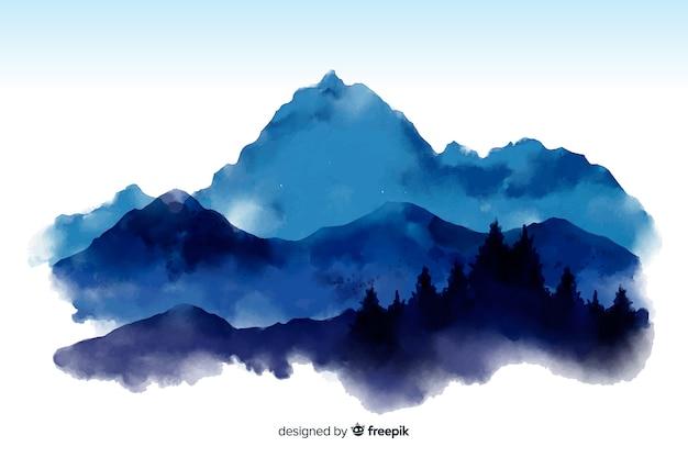 Berg aquarel weergave achtergrond Gratis Vector