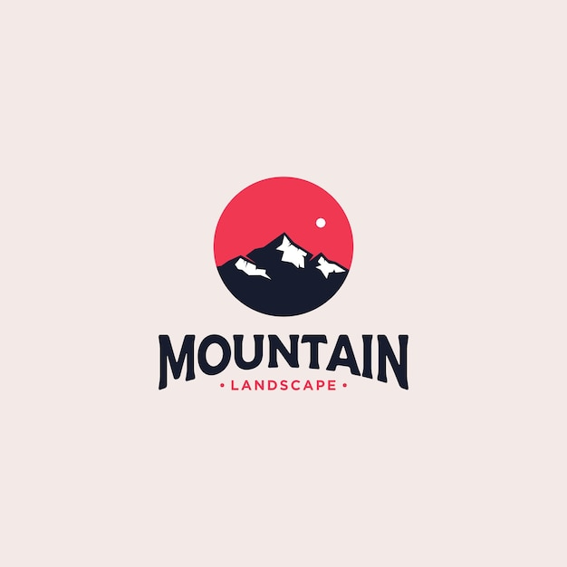 Berg badge logo ontwerp Premium Vector