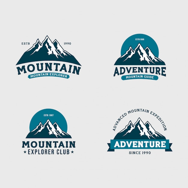 Berg expeditie logo-set Premium Vector