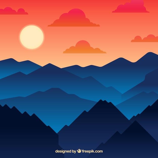 Bergachtige landschap achtergrond bij zonsondergang Gratis Vector