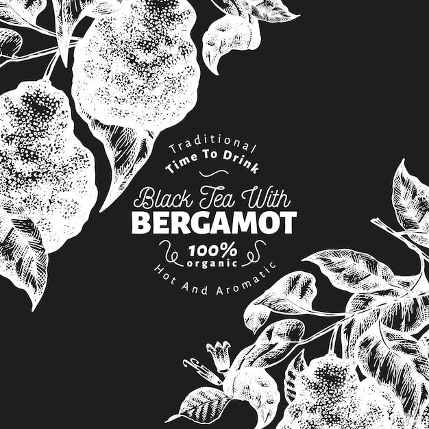 Bergamot branch ontwerpsjabloon. kaffir limoen frame. hand getekend fruit vectorillustratie op schoolbord. gegraveerde stijl retro citrus achtergrond. Premium Vector