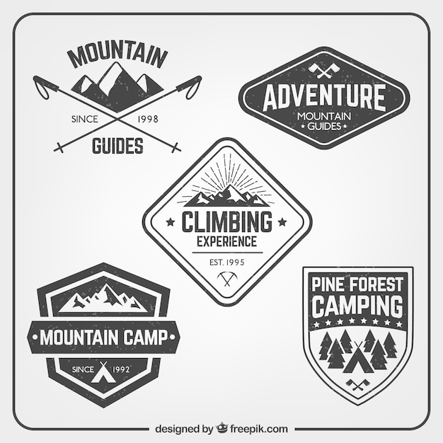 Bergbeklimmen badges pak Gratis Vector
