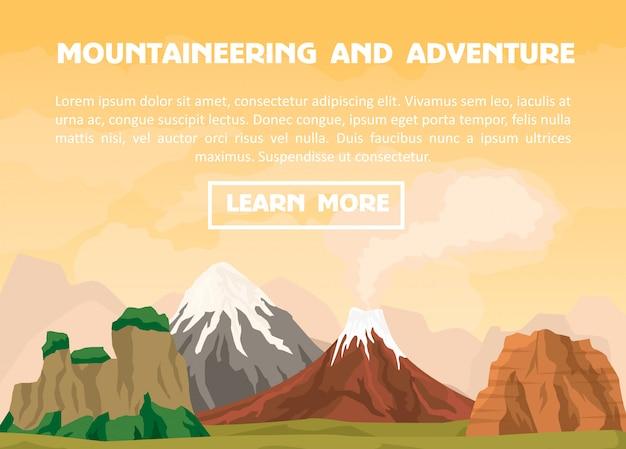 Bergbeklimmen en outdoor avontuur banner Premium Vector