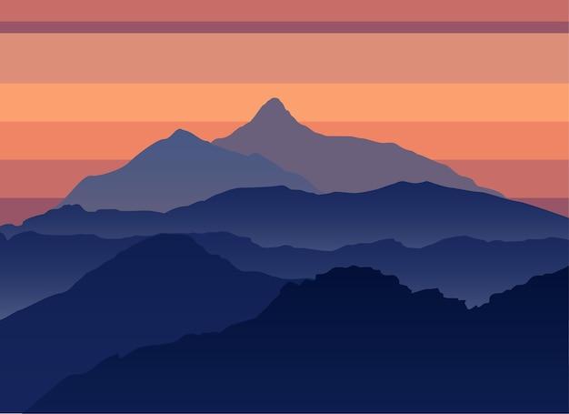 Bergen avond silhouet landschap. outdoor avontuurlijke reizen concept. berg poster sjabloon. Premium Vector