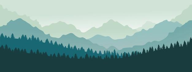 Bergen panorama. bos bergketen landschap, blauwe bergen n schemering, camping natuur landschap silhouet illustratie. bosbereik landschap, panorama silhouet heuvel Premium Vector