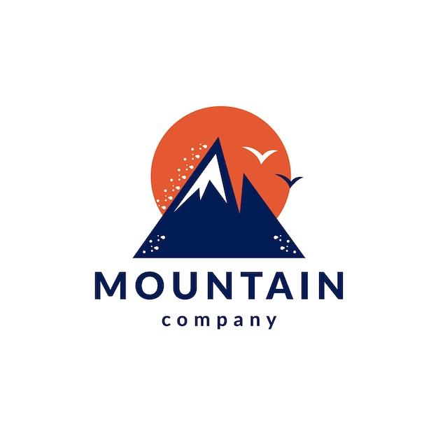 Bergen vogels schoon stijl logo ontwerp Premium Vector