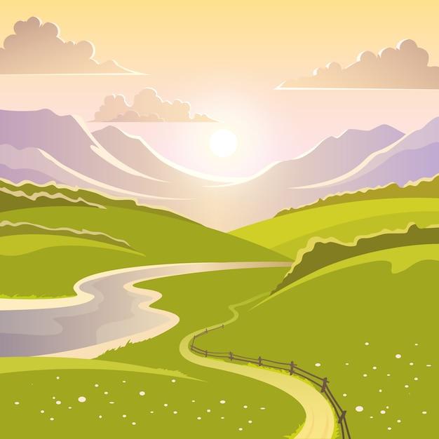 Berglandschap achtergrond Gratis Vector