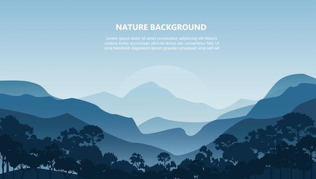 Berglandschap achtergrond Premium Vector