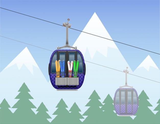 Berglandschap met cabine skilift vectorillustratie Premium Vector