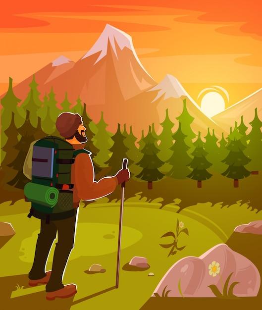 Berglandschap met toerist op voorgrond Gratis Vector