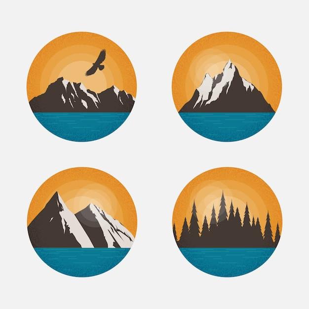 Berglandschap. ontwerpelementen met ronde vorm voor logo, emblemen of badge Premium Vector