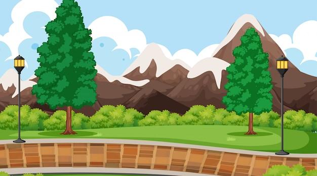 Berglandschap scène Gratis Vector
