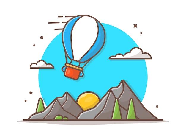 Berglandschap vector icon illustratie Premium Vector