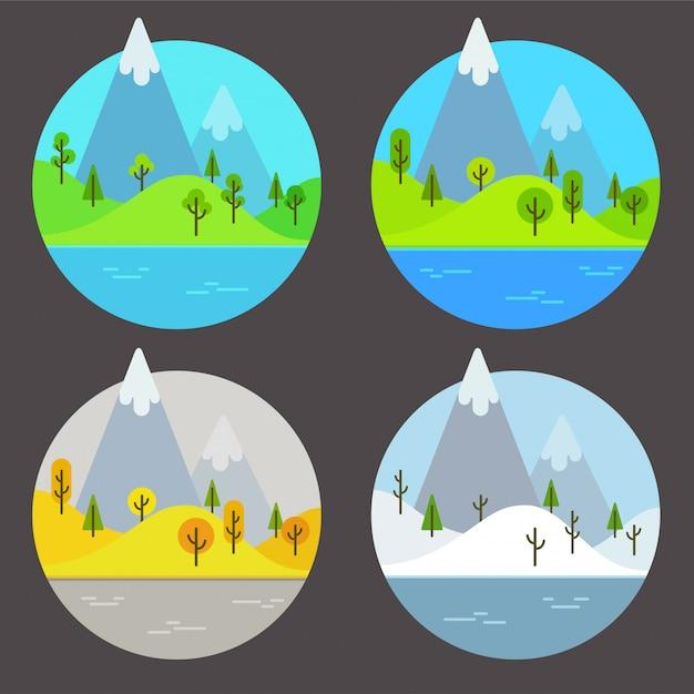 Berglandschappen in verschillende seizoenen. eenvoudige platte cartoon afbeelding instellen. Premium Vector