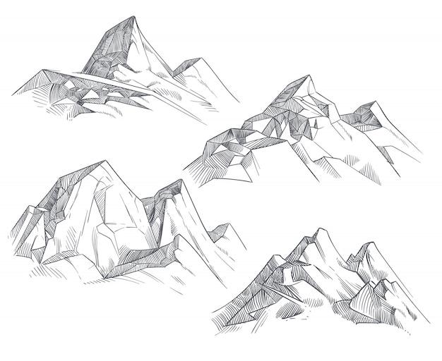 Bergtoppen van de handtekening isoleerden retro etsschets Premium Vector