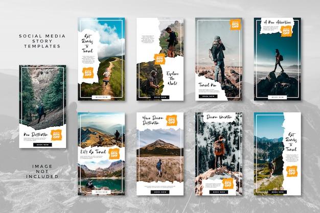 Bergwandelen avontuur sociale media banner instagram verhalen reizen bundel Premium Vector