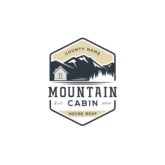 Bergzicht met hut voor dorpshuisverhuur logo Premium Vector