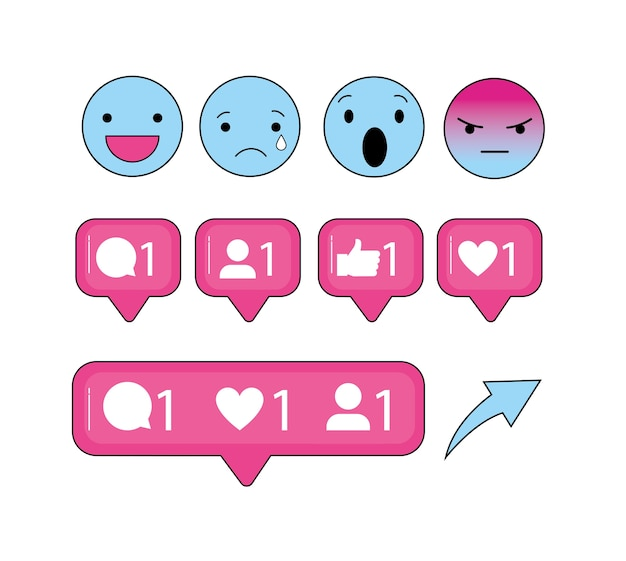 Bericht social emoji en chat bubbles Premium Vector