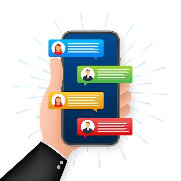 Berichten concept. hand met smartphone met mensen chatten. chat tekstballonnen op het telefoonscherm. Premium Vector
