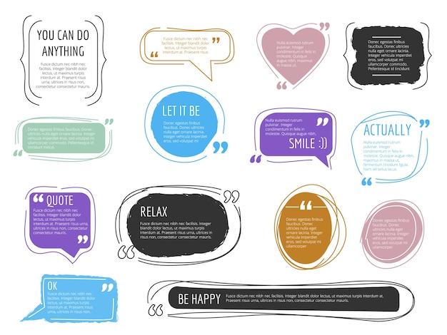 Berichtframes. offerte dozen kleurrijke ontwerpsjablonen moderne creatieve blok voor trendy tekstlabels. citeer blogteken, onder vermelding van de illustratie van het stickerbericht Premium Vector