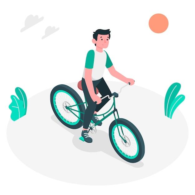 Berijd een illustratie van het fietsconcept Gratis Vector