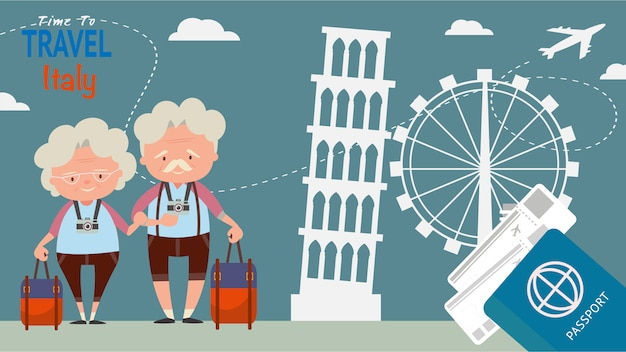 Beroemd oriëntatiepunt voor reis architecturale gezichten. de oudere paartoeristen reizen italië op de wereldtijd om concept vectorillustratie te reizen. Premium Vector