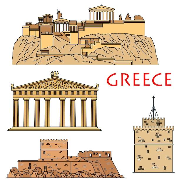 Beroemde architectonische erfgoed van griekenland icoon met gekleurde lineaire akropolis van athene met tempel van de godin athena parthenon Premium Vector