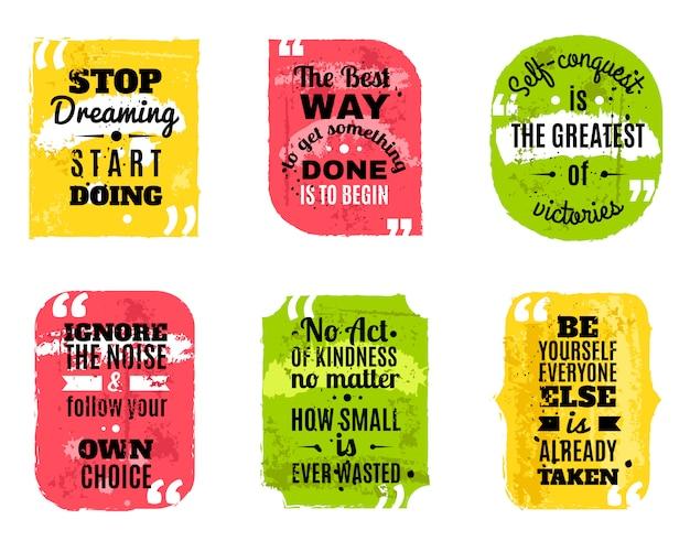 Beroemde citaten gekleurde geweven pictogrammen instellen Gratis Vector