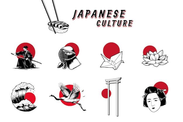 Beroemde japanse culturele pictogrammen Gratis Vector