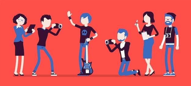 Beroemde rockstar en journalisten Premium Vector