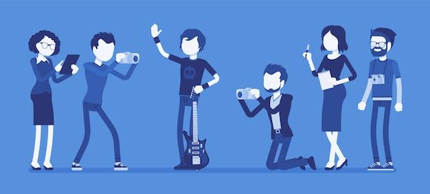 Beroemde rockster en journalisten Premium Vector