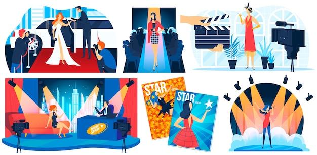 Beroemdheid ster mensen op rode loper illustratie set, cartoon platte beroemdheid superster, mannequin poseren voor paparazzi Premium Vector