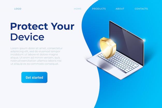 Bescherm uw apparaat slogan website Premium Vector
